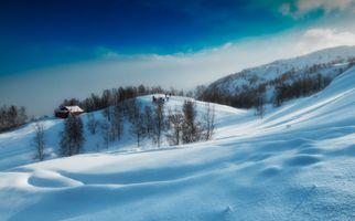 Бесплатные фото Lyngen Alps,Norway,зима,холмы,домик,снег,сугробы