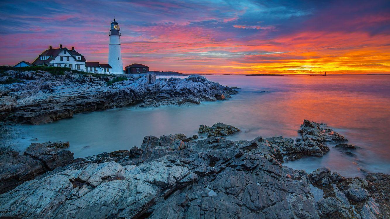 Free photo Cape Elizabeth, sunset, Portland Head Light - to desktop