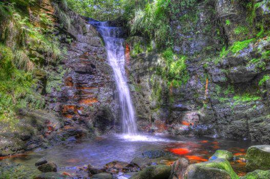 Фото бесплатно Англия, Водопады, Камни, Рыбы, Скала, Мох, Природа