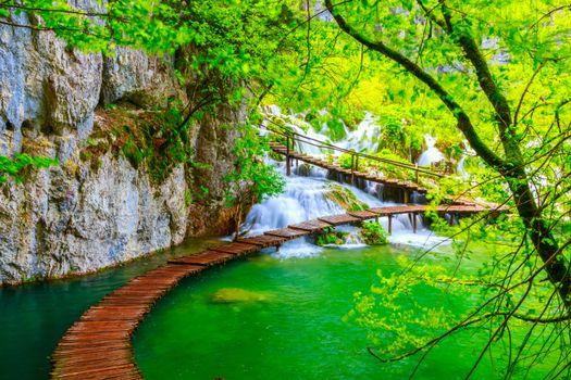 Фото бесплатно Плитвицкие озера, ландшафт, дорожки