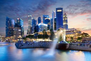 Фото бесплатно огни, сингапур, ночной город