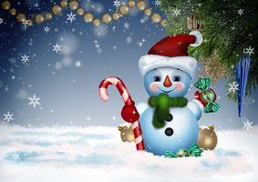Фото бесплатно снеговик, Рождество, фон