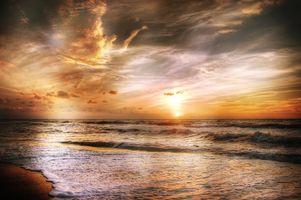 Бесплатные фото закат,море,волны,берег,небо,облака,пляж