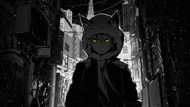 Заставки аниме, косички, зданий