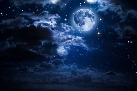 Фото бесплатно Луна, облака, звезды
