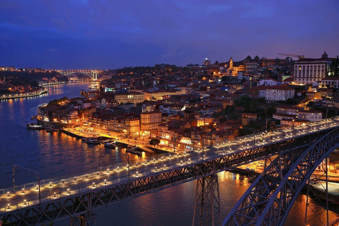 Фото бесплатно Porto, Portugal, Мост дона Луиша, Понте-де-Дон-Луиш, Соединяет города Порту и Вила-Нова-ди-Гая, ночные города, город