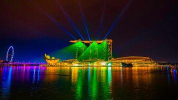 Бесплатные фото Сингапур,горд,ночь,иллюминация,ночные города