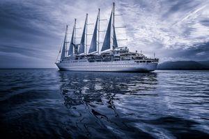 Заставки корабль, синее небо, море