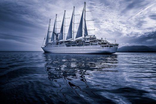 Фото бесплатно корабль, синее небо, море