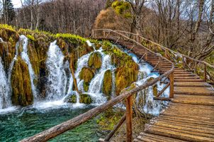 Photo free national Park Plitvice lakes, waterfall, Plitvice Lakes national park