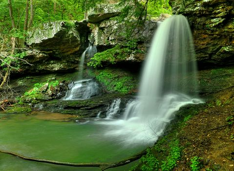 Photo free old rock, untouched nature, waterfall