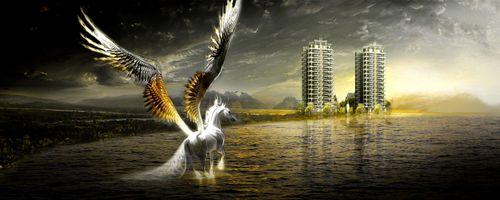Бесплатные фото арт,креатив,конь,пегас,здания,море,небо