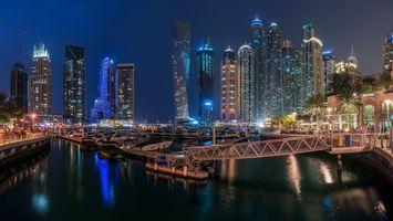 Заставки город, ночной город, Дубай