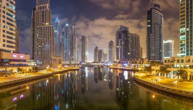 Photo free Dubai Marina by night, illumination, night