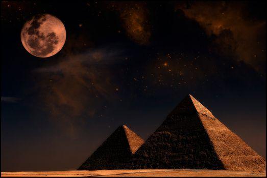 Фото бесплатно египетские пирамиды, ночь, Луна