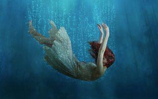 Фото бесплатно девушка, под водой, пузырьки