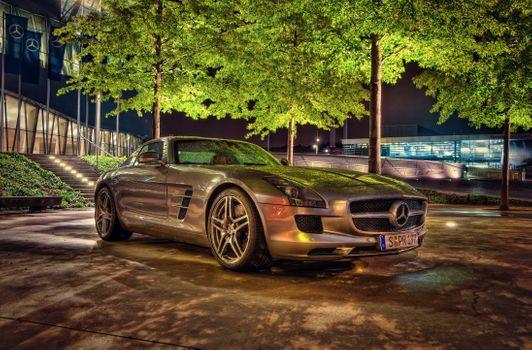 Бесплатные фото Mercedes-Benz,SLS,AMG,2010,HDR