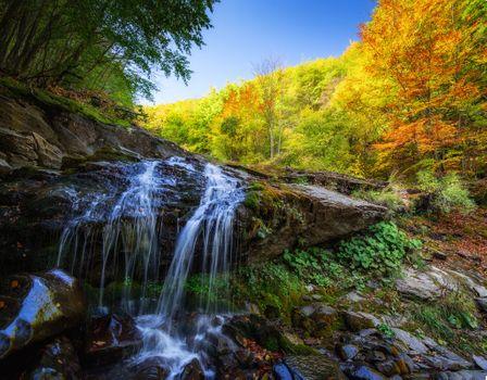 Photo free autumn waterfall, rocks, waterfall