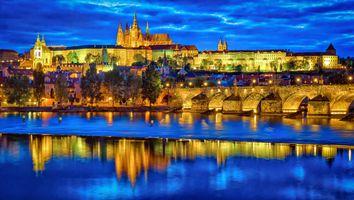 Бесплатные фото Пражский град,Карлов мост,Прага,Чехия,река Влтава,сумерки,ночь
