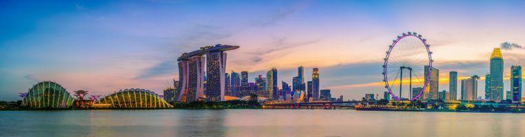 Обои Сингапурский горизонт, вид на небоскребы, Марина-Бей, залив, сумерки, Сингапур, панорама
