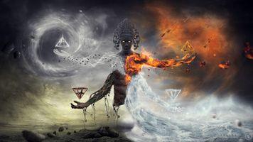 Фото бесплатно арты стихий, искусство, произведение искусства, демон, элементаль, фентези, огонь, Бог, боги, лед, психоделический