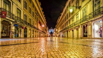 Бесплатные фото Улица Августа,Лиссабон,Augusta Street,ночь,иллюминация,ночные города,Португалия