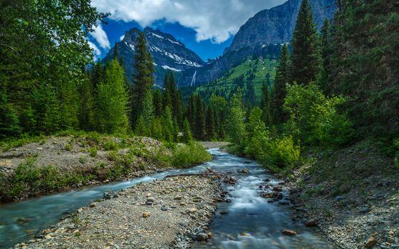 Бесплатные фото горы,речка,деревья,лес,камни,облака,природа,пейзаж