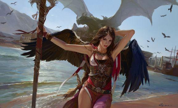 Фото бесплатно фантазии женщины, черные крылья, девушка