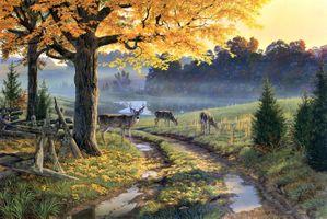 Фото бесплатно изобразительное искусство, осень, сельская дорога
