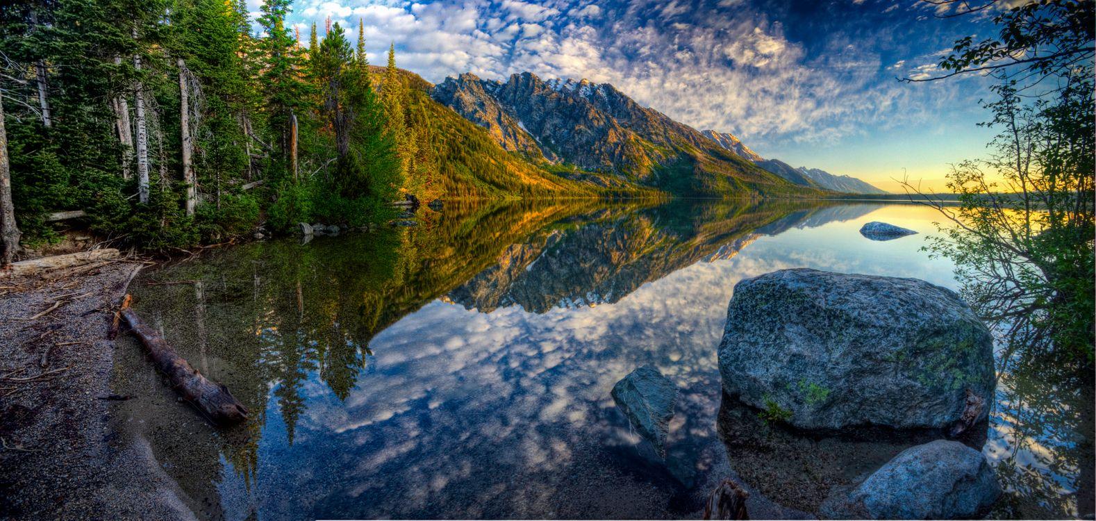 Фото бесплатно Jenny Lake, Grand Teton National Park, горы, озеро, деревья, отражение, закат, пейзаж, пейзажи