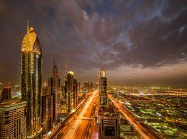 Фото бесплатно архитектура, Дубай ОАЭ ночь, освещение