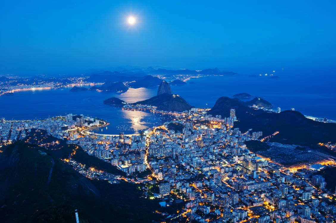 Фото бесплатно ночь, город небоскребы, Рио-де-Жанейро - на рабочий стол