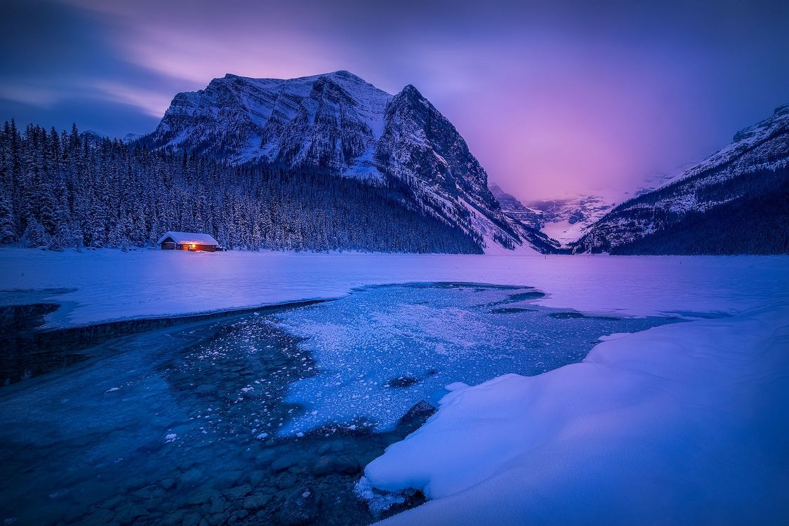 Free photo house, dusk, Emerald Lake - to desktop