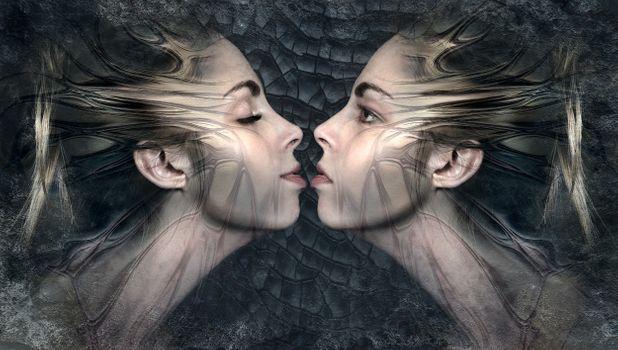 Фото бесплатно фантазия, близнецы, поцелуй