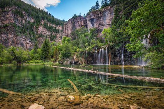 Бесплатные фото The Hanging Lake,Colorado,озеро,водопад,скалы,деревья,природа,пейзад