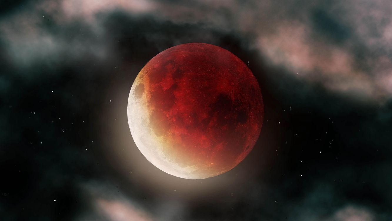 Фото бесплатно суперлуна, звезды, красный - на рабочий стол