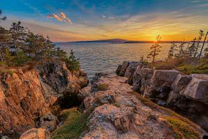 Заставки закат солнца, скалы, деревья