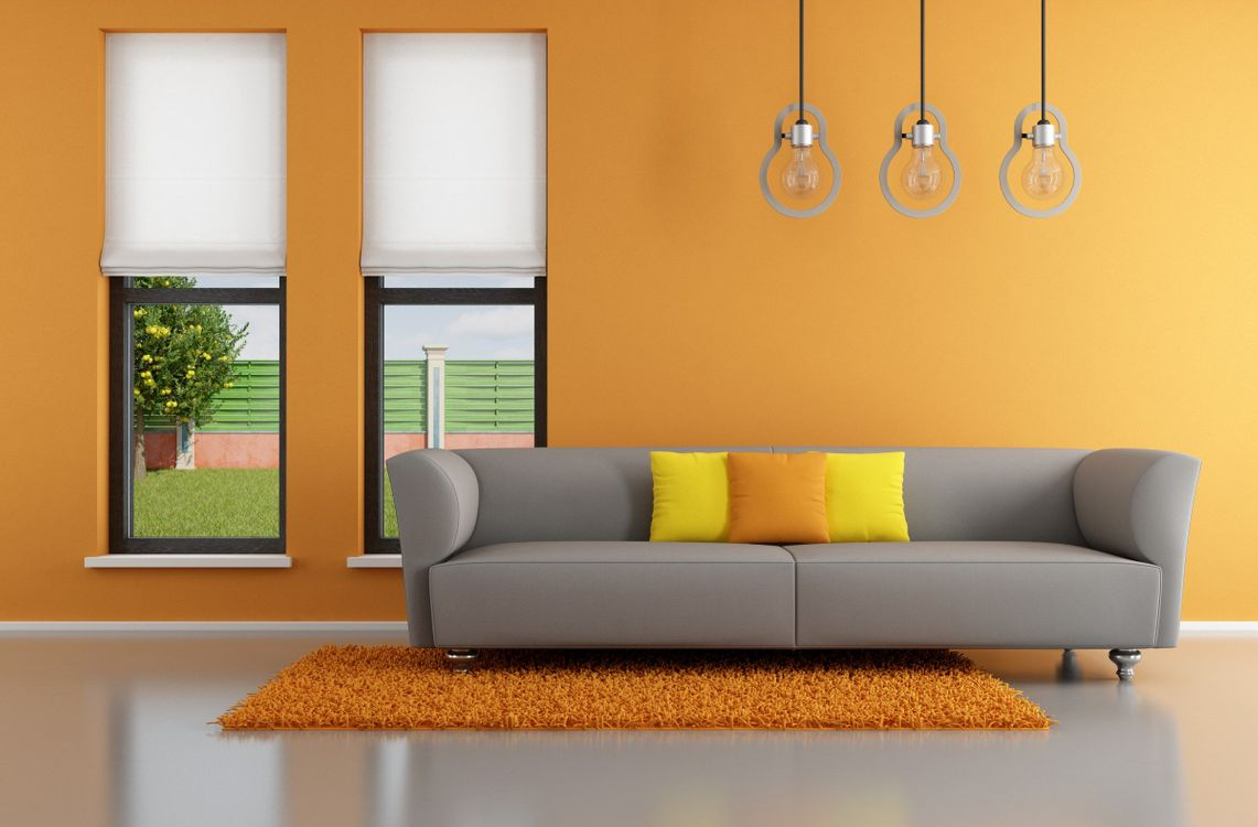 Minimalist interior design orange room · free photo