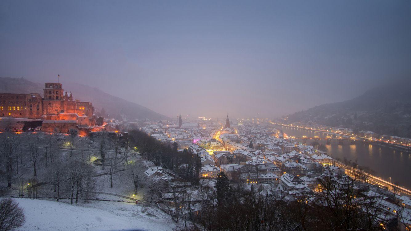 Гейдельберг после снегопада · бесплатное фото