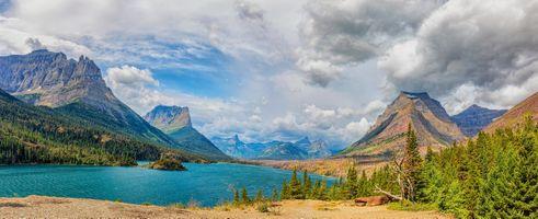 Photo free St Mary Lake, Glacier National Park, mountains
