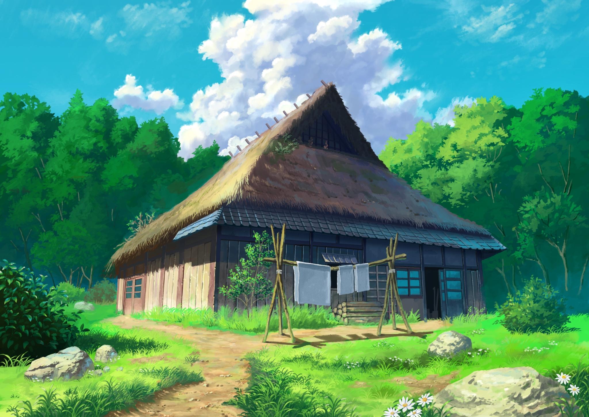 Neckeetova kuca Anime-house-forest-clouds-scenic