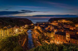 Бесплатные фото North Sea,North Yorkshire,деревня,Staithes,Северное море,панорама,дома