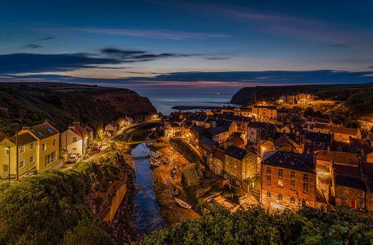 Заставки North Sea,North Yorkshire,деревня,Staithes,Северное море,панорама,дома,Стайтес,England,река,здания,море