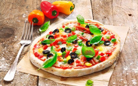 Фото бесплатно оливки, пицца, помидор