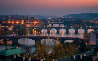 Фото бесплатно мосты, река Влтава, ночные города