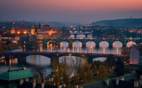 Заставки мосты, река Влтава, ночные города