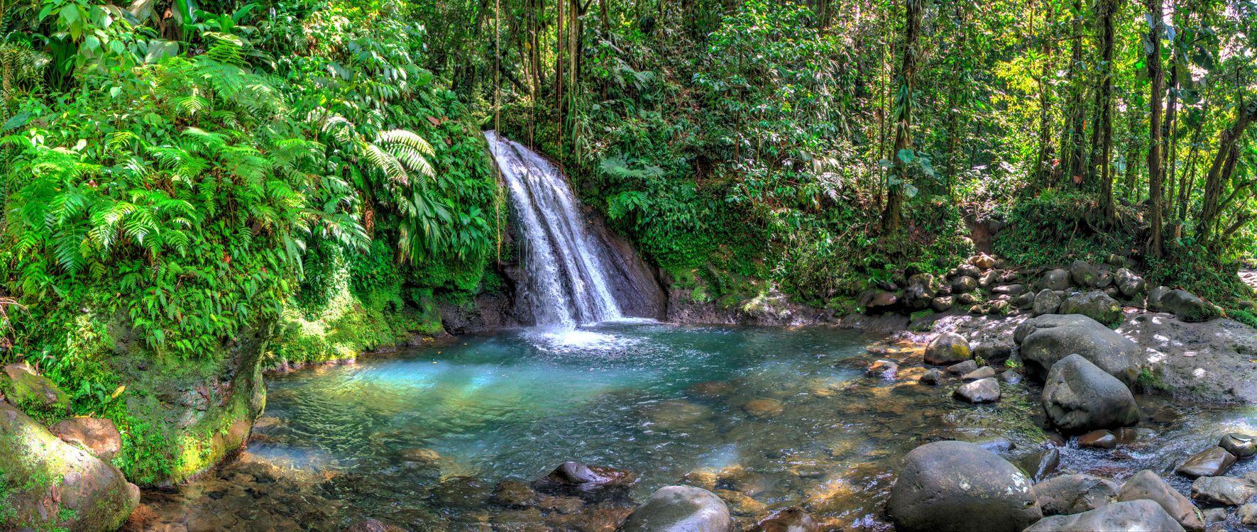 Фото бесплатно водопад, панорама, камни - на рабочий стол