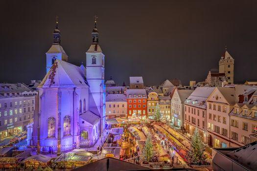 Фото бесплатно Регенсбургский праздничный рождественский базар, Регенсбург, Германия