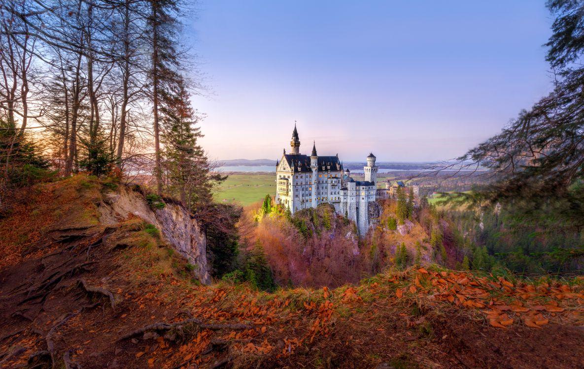 Фото бесплатно горы, пейзаж, сказочный замок Нойшванштайн - на рабочий стол
