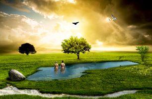 Фото бесплатно небо, мальчик, девочка
